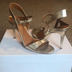 HALSTON Gold Ankle Strap Heels